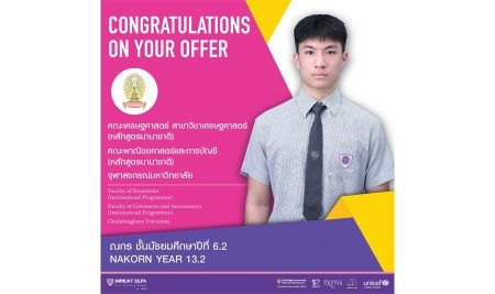 Congratulations to NAKORN Y13.2 who has been accepted into University.