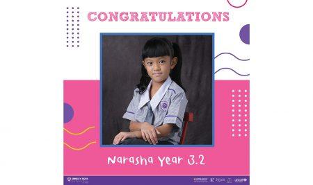 Congratulations to Narasha Y3.2 who has been awarded Grade 1 Piano.