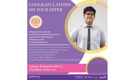 Congratulations to POLPIBUL Y13.2 who has been accepted into University.