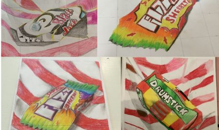 In our Y8 art classes.