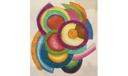 In online Art and Design class, our Y7 students created artworks inspired by famous artists Robert and Sonia Delaunay.