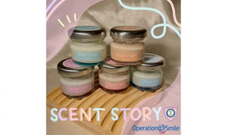 Vanilla scented candles, with all proceeds going towards providing reconstructive surgery for underprivileged children.
